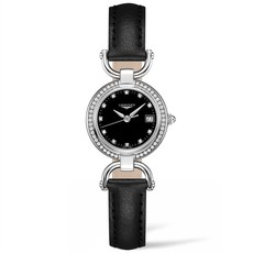 Longines Equestrian Collection Black Dial Stainless Steel Diamond Set Womens Quartz Watch L61300570