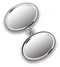 Sterling Silver Classic Oval Chain Link Cufflinks 7398