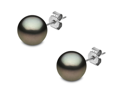 YOKO London 18ct White Gold Natural Grey Tahitian Pearl Stud Earrings