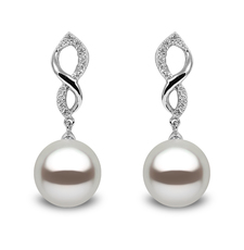 YOKO London 18ct White Gold Cultured Freshwater Pearl & Diamond Set Drop Earrings