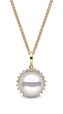 YOKO London 18ct Gold Cultured Freshwater Pearl & Diamond Cluster Pendant Necklace