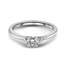 Chalfen of London Mayfair Platinum Solitaire 4 Claw Set 0.32ct Diamond Ring