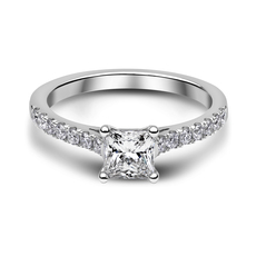 Chalfen of London Cordelia 2 Platinum Solitaire 4 Claw Set 0.76ct Princess Cut Diamond Ring