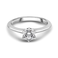 Chalfen of London Berkley Platinum Solitaire 6 Claw Set 0.31ct Diamond Ring
