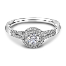 Chalfen of London Shimmer 2 Platinum Solitaire with Halo Cluster 0.85ct Diamond Ring