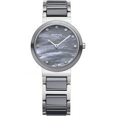 Bering Ceramic Collection Grey Mother of Pearl Dial Stainless Steel Womens Quartz Watch 10725-789