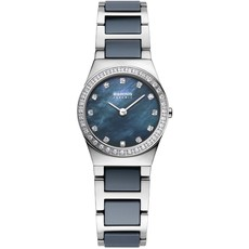 Bering Ceramic Collection Blue Mother of Pearl Dial Swarovski Set Stainless Steel Womens Quartz Watch 32426-707