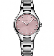 Raymond Weil Noemia Diamond Dot Pink Dial Stainless Steel Womens Quartz Watch 32mm 5132-ST-80081