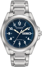 Citizen Eco-Drive Blue Dial Stainless Steel Day-Date Mens Watch AW0050-58L