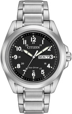 Citizen Eco-Drive Black Dial Stainless Steel Mens Day-Date Watch AW0050-82E
