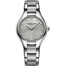 Raymond Weil Noemia Diamond Dot Silver Dial Stainless Steel Womens Quartz Watch 32mm 5132-ST-65081
