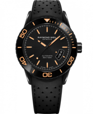 Raymond Weil Freelancer Black Dial Black PVD Plated Case Rubber Strap Mens Watch 2760-SB2-20001