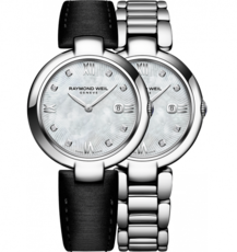 Raymond Weil Shine Diamond Dot Mother of Pearl Dial Stainless Steel Womens Quartz Watch 1600-ST-00995