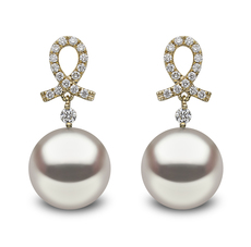 YOKO London 18ct Gold Cultured Freshwater Pearl & Diamond Drop Earrings