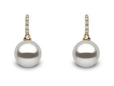 YOKO London 18ct Gold Cultured Freshwater Pearl & Diamond Set Drop Earrings