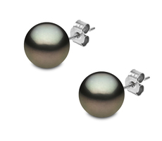 YOKO London 18ct White Gold Tahitian Pearl Stud Earrings