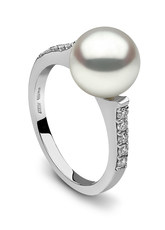 YOKO London 18ct White Gold Cultured Freshwater Pearl & Diamond Set Ring