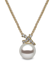 YOKO London 18ct Gold Cultured Freshwater Pearl & Diamond Set Pendant Necklace