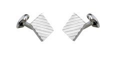 Deakin & Francis Sterling Silver 15mm Square Engine Turned Cufflinks C0791X0001