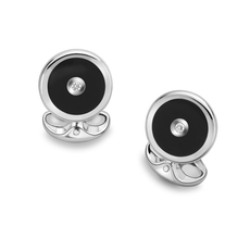 Deakin & Francis Sterling Silver, Black Onyx & Diamond Cufflinks L0613X0004