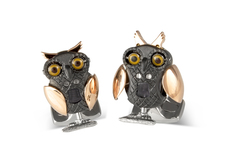 Deakin & Francis Black Rhodium & Rose Gold Plated Moving Owl Cufflinks BMC0008C0001