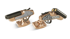 Deakin & Francis Black Rhodium & Rose Gold Plated Shotgun Cufflinks  BMC1309C0001