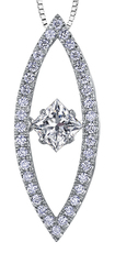 9ct Canadian White Gold Pulse Diamond Set Marquise Pendant Necklace P3200W/50C-10