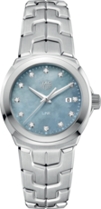 TAG Heuer Link Lady Blue Mother of Pearl Diamond Set Dial Stainless Steel Womens Quartz Watch WBC1313.BA0600