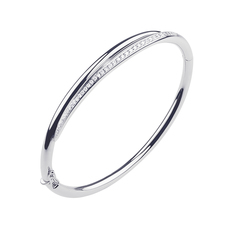 Shaun Leane Sterling Silver & Diamond White Feather Bangle SLS656
