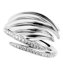 Shaun Leane Sterling Silver & Diamond White Feather Ring (Size P) SLS661