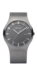 Bering Solar Collection Stainless Steel Grey Dial Mens Quartz Watch 14640-077
