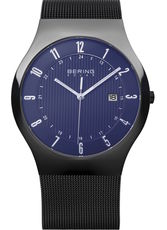 Bering Solar Collection Black Stainless Steel Blue Dial Mens Quartz Watch 14640-227