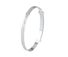 Sterling Silver Expanding Christening Bangle