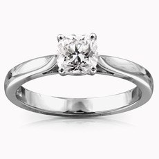 Chalfen of London Emilia Platinum Solitaire 4 Claw Set 0.39ct Cushion Cut Diamond Ring