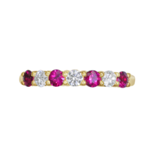E W Adams 18ct Gold Ruby & Diamond Set Half Eternity Ring