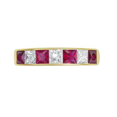 E W Adams 18ct Gold Princess Cut Ruby & Diamond Channel Set Half Eternity Ring