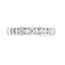 E W Adams 18ct White Gold Baguette & Brilliant Cut Diamond Channel Set Half Eternity Ring