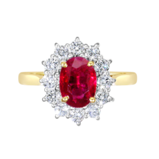 E W Adams 18ct Gold Ruby & Diamond Set Cluster Ring