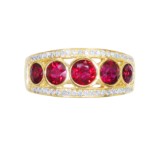 E W Adams 18ct Gold Ruby & Diamond Set Ring