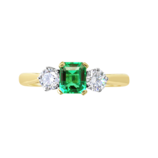 E W Adams 18ct Gold Emerald & Diamond Set Three Stone Ring