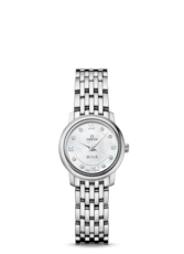 Omega De Ville Prestige Mother of Pearl Diamond Set Dial Stainless Steel Womens Quartz Watch 24.4mm 42410246055001