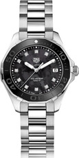 TAG Heuer Aquaracer Lady Stainless Steel Black Mother of Pearl Diamond Set Dial Womens Quartz Watch WAY131M.BA0748