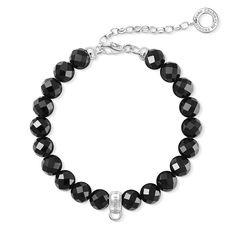 Thomas Sabo Charm Club Faceted Obsidian Sterling Silver Bracelet X0226-840-11