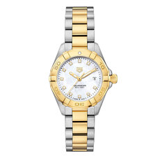TAG Heuer Aquaracer Lady Mother of Pearl Diamond Set Dial Two Tone Womens Quartz Watch WBD1422.BB0321