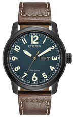 Citizen Eco-Drive Military Blue Dial Black Stainless Steel Day-Date Mens Watch BM8478-01L