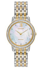 Citizen Eco-Drive Silhouette Crystal Mother of Pearl Dial Two Tone Womens Watch EX1484-57D