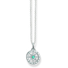 Thomas Sabo Sterling Silver, Turquoise & Zirconia Compass Pendant Necklace SCKE150057