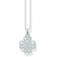 Thomas Sabo Four Leaf Clover/Cloverleaf Sterling Silver & Zirconia Pendant Necklace SCKE150083