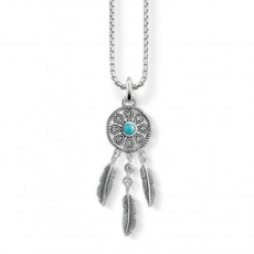 Thomas Sabo Glam & Soul Sterling Silver, Turquoise & Zirconia Ethno Dreamcatcher Pendant SCKE150162