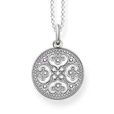 Thomas Sabo Glam & Soul Sterling Silver & Zirconia Ornament Disc Pendant Necklace KE1555-051-14